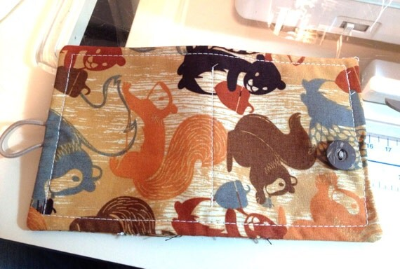 Basket Weaving Supplies Nyc : Squirrel fabric needle book pin cushion case sewing