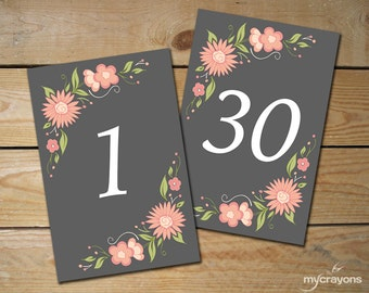 Romantic Floral Table Numbers 1-30 // DIY Printable Wedding Table Cards, 4x6 and 5x7 // Pink and Grey Wedding