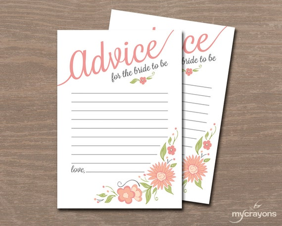 Printable wedding advice cards advice for the bride bridal for Bridal shower advice cards template