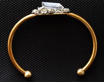 Pyrite and Quartz Gold Bangle, Pyrite Bracelet