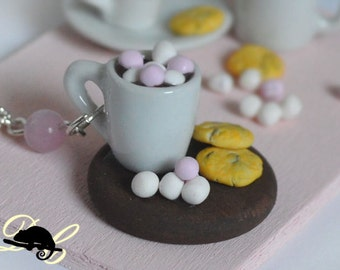 Hot Chocolate with Cookies and Marshmallows Necklace (In Stock)