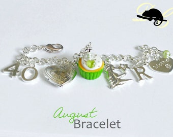 Your AUGUST Birthday Bracelet - Cupcake with candle, birthstone,letter,locket, and zodiac charm - Personalised (In Stock)