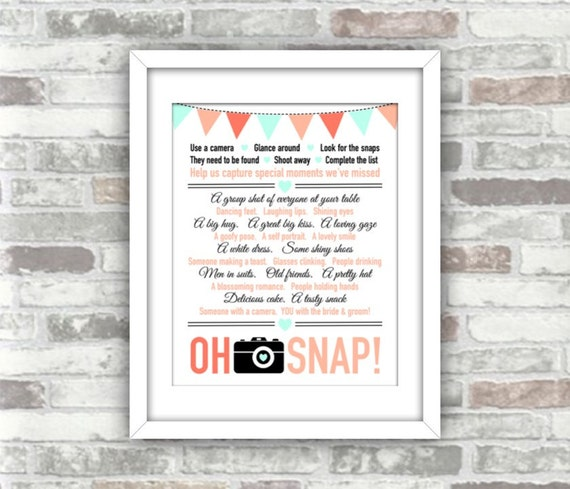 INSTANT DOWNLOAD - Printable Wedding 'Oh Snap' Print your own wedding decor sign photo camera game table decor - bunting peach mint