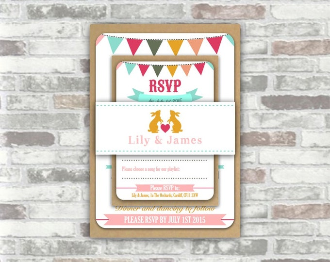 Print your own personalised printable WEDDING INVITATION BUNDLE - Personalized digital files - bunting, festival, hot pale pink, mint - diy