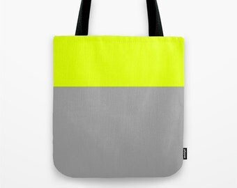 Lime Green and Gray Canvas Tote Bag, Color block tote bag, 13 x 13 inch tote bag, Small Tote Bag, Lunch Bag