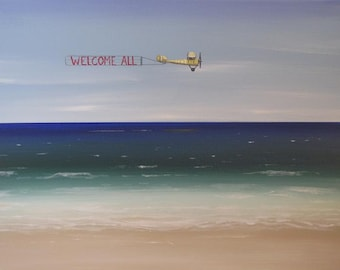 Plane Over Beach Painting 11 X 14 Canvas