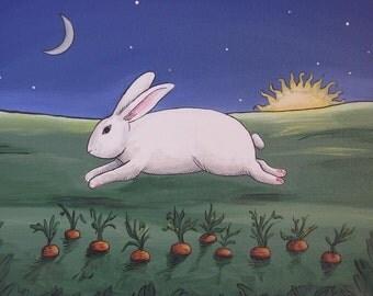 Fat White Bunny Rabbit Art 11 X 14 Painting