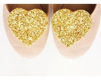Big Golden Glitter Heart Shoe Clips, Gold Shoe Adornment, Golden Shoe Accessory, Glitter Party Clips