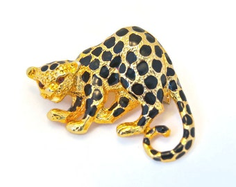 Vintage PARK LANE Gold Leopard Brooch Retro Pendant and Brooch Black Spotted Crouching Leopard with Purple Rhinestone Eyes