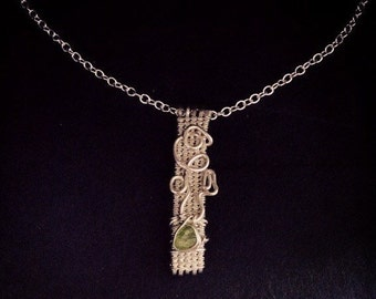 Wire Wrapped Jewelry Handmade, Fine Silver Pendant, Peridot Pendant, Woven Wire Pendant
