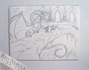 8.5x11 Original Dragon Sketch, Fantasy Battle Drawing, OOAK Dragon Art, Dragon and Dwarf, Epic Battle Artwork, Original Fantasy Drawing