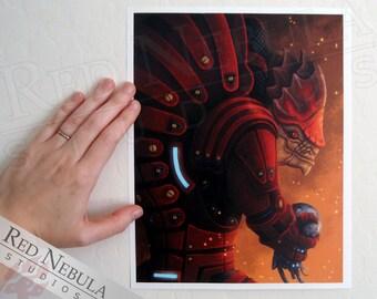 8.5x11 Urdnot Wrex Illustration, Mass Effect Art Print, Krogan Artwork, Clan Urdnot