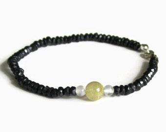 Black Tourmaline, Rutilated Quartz and Rainbow Moonstone Bracelet; Dainty, Delicate and Classic Black Tourmaline Jewelry for Protection