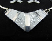 Retro Sterling Necklace Modernist Sterling Necklace & Earring Set Choker Necklace Chevron Geometric Necklace And Earrings CLEARANCE SALE