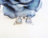 Modernist Blue Topaz Earrings Sterling Silver Blue Gemstone Earrings Triangle Dangle Earrings Drop Earrings Gifts For Her CHRISTMAS SALE