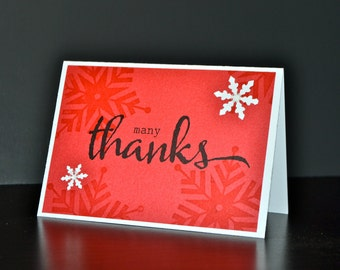 Christmas Thank You Note Cards (Set of 8), Holiday Thank You Cards, Snowflake Thank You