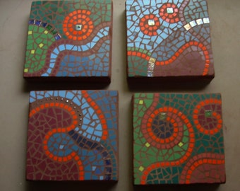 """Organic abstract mosaic, Save on a set of 4, exterior garden stepping stone,12"""" square, exterior tile and glass"""