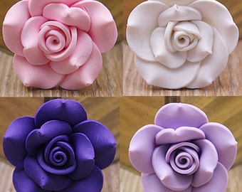 8 Polymer Clay Rose in Pink, Wthie, Purple, Lavender (42 mm) QS-051
