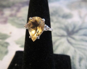 Natural Pear Citrine Size 7 Accented Sterling Ring