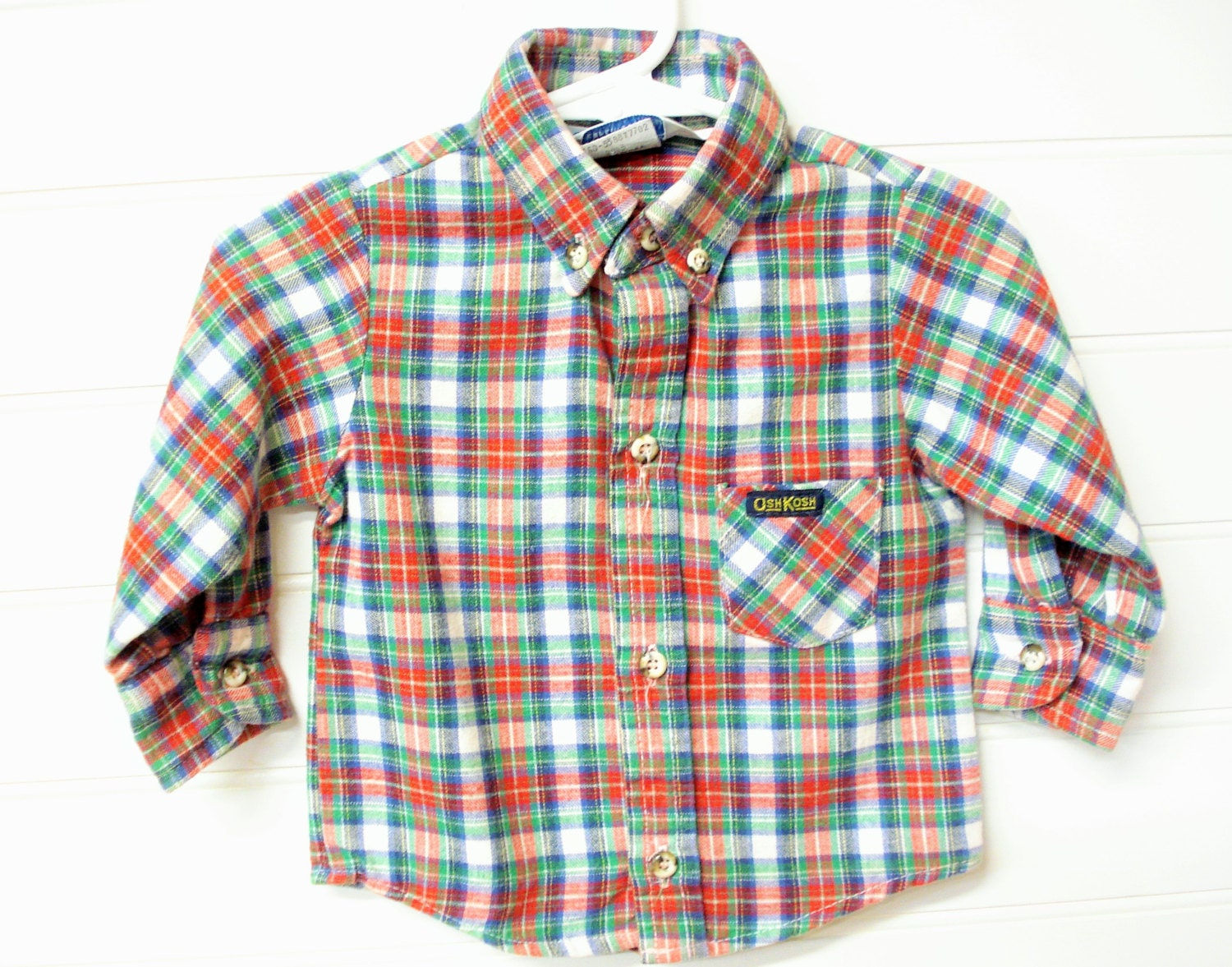 Vintage baby clothes baby boy flannel shirt red blue green