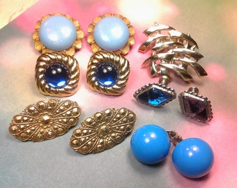 lot earring vintage costume jewelry crystal earring lot set