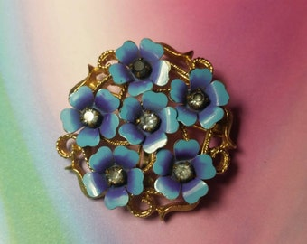 Vintage enamel flower brooch pin costume jewelry