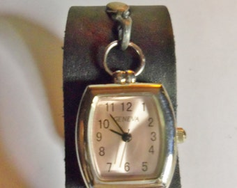 Womans Black Leather Watch