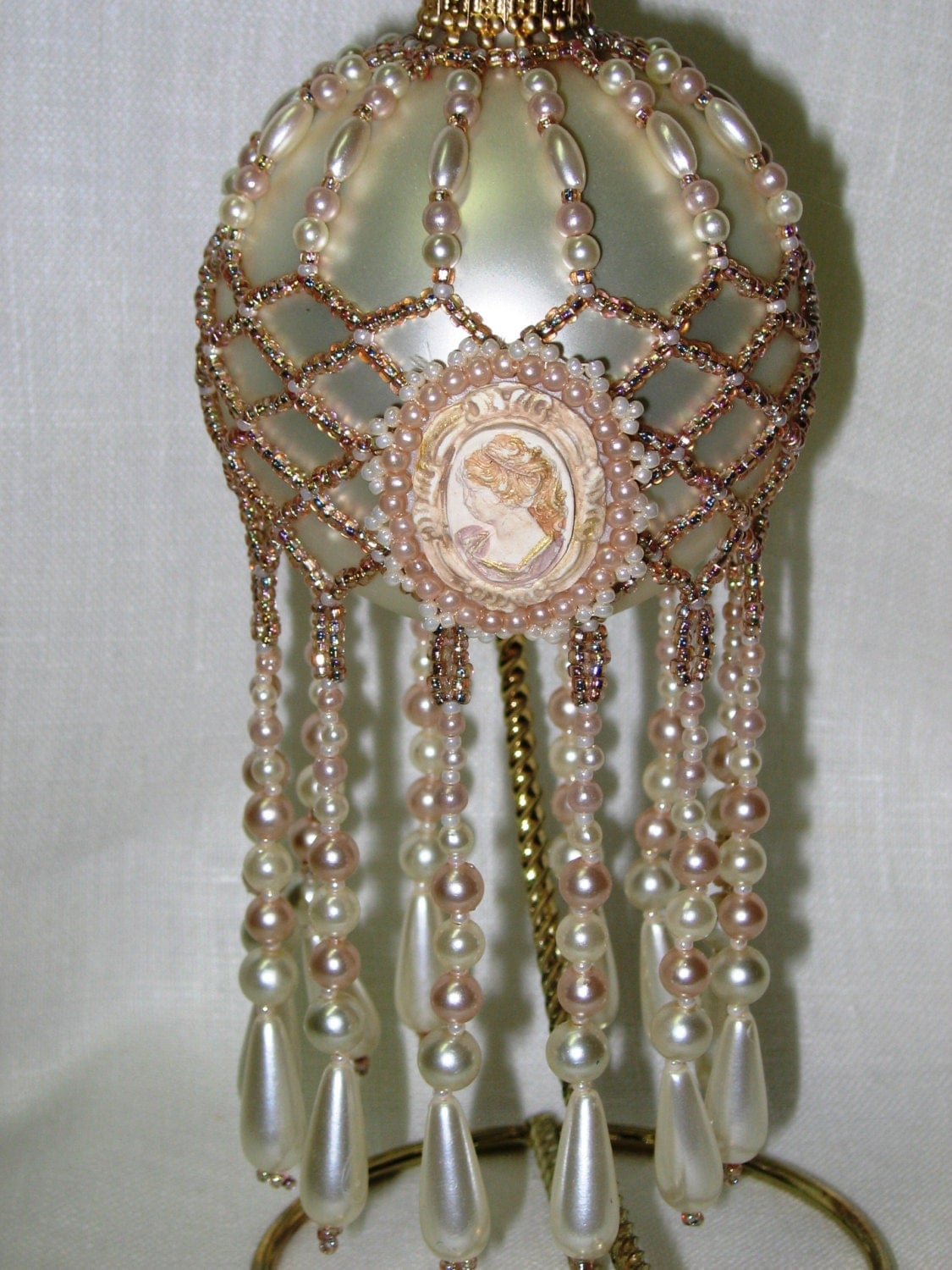 Pattern Beaded Christmas Ornament Cover Pearl Cameo