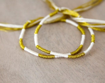 Friendship Bracelet Set Ivory and Gold Embroidery Threads / Stocking Stuffer / Gift Set