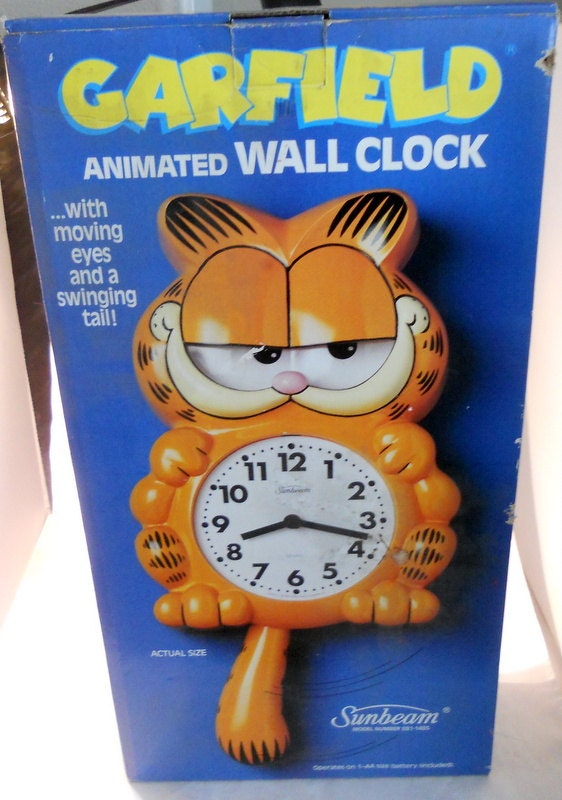 Vintage Garfield Animated Wall Clock Moving Eyes Swinging Tail