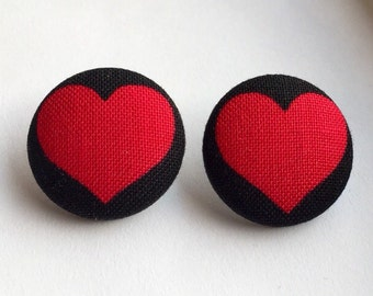 Red and Black Heart Print Fabric Button Earrings