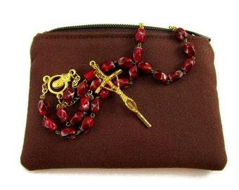 Men's, Boys Brown Rosary Pouch, Handmade, Catholic Gift, Rosary Holder