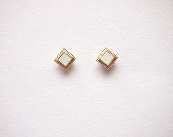 White Opal Square Stud earrings - titanium earrings-  with swarovski white oparl -dainty