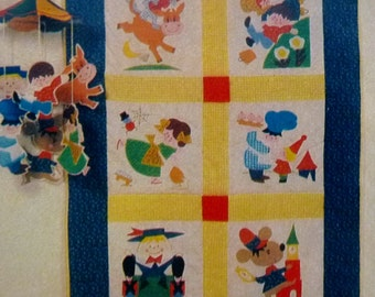 Vintage Mother Goose Quilt, Nursery Rhymes, DIY KIT 36 x 54 Carousel Crafts, Includes Patterns, Fabric