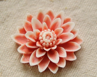 6 pcs of resin chrysanthemum cabochon-55mm-0063-pink with white edge