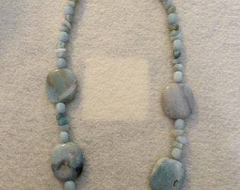 SALE ITEM Amazonite pebble statement necklace