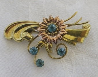 Harry Iskin Brooch, Gold Filled with Blue Rhinestones, 1940s Pin, Designer signed Jewelry