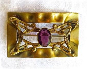 Art Nouveau Sash Pin Amethyst Stylized Swirl Designs Antique Sash Brooch