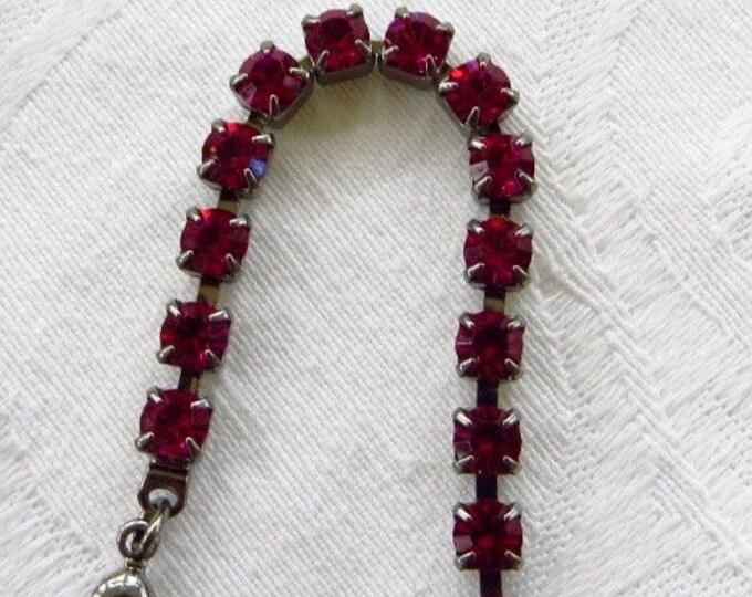 Vintage Rhinestone Necklace, Single Strand, Raspberry Red Rhinestones, 1960s Jewelry