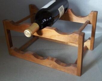 Vintage Wine Rack - Cherry Wood Wine Rack - Mid Century Wine Rack - Barware - Wine Storage - Brown