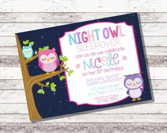 Girl's Night Owl Birthday Invitation | Sleepover Birthday Party | Pajama Party | Owl Theme Party | Girl Birthday Invite | Digital Invite