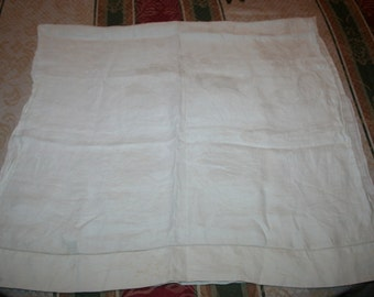 50% OFF - Vintage Ivory Linen Runner Table Dresser Scarf Scalloped Edges Floral - EXCELLENT - Use Coupon Code '50OFF'