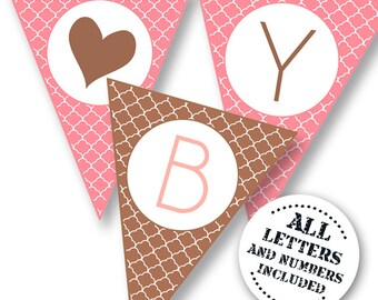 INSTANT DOWNLOAD -Pink and brown Party Printable Banner - Al numbers and letters included.