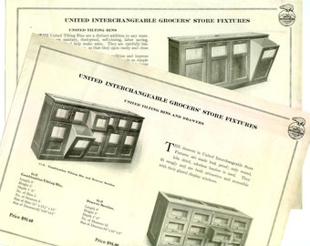 Pair of Antique Vintage Advertising Sheets for Grocers' Tilting Store Fixtures by United Refrigeration Kenosha WI