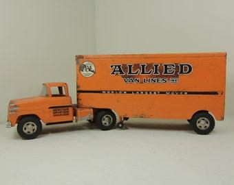 Allied Van Lines Tonka Truck Toy Tractor-Trailer Vintage Metal