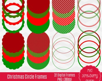 75% OFF Sale - Christmas Circle Frames - 32 Digital Clip Art - Instant Download - PNG (CA115)
