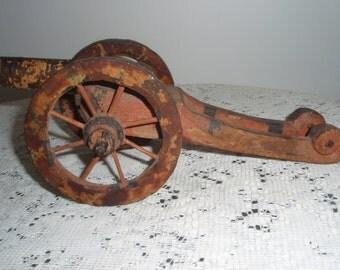 Vintage Hand carved Cannon, Primitive Folk art, Carved wood Cannon