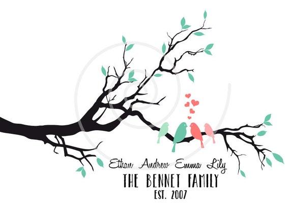 Family Tree Wedding Gift: Personalized Family Tree Custom Family Tree With Birds