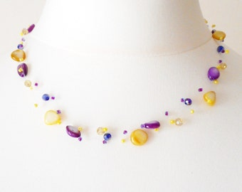 "Necklace ""Sunshine"" made with gemstones"