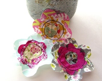 Fabric Flowers, Scrapbook Flowers, Fake Flower Embellishment, Fabric Flower Appliques, Spring Fabric Scrap Flowers, Layered Flowers-Set of 3